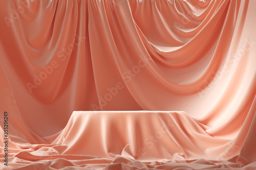 Fototapeta Empty round podium and background covered with pink cloth. 3d illustration obraz