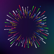 Abstract Color Firework On Dar...