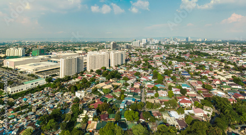 Fototapeta Las Pinas, Metro Manila - June 2020: Aerial of SM Southmall, Pilar Village, and Alabang