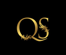 Heraldic Gold Letter Q, S And QS Vintage Decorative Ornament Letter Stamp, Wedding Logo, Classy Letter Logo Icon.