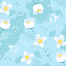 Blue Seamless Pattern With Jasmine Flowers And Leaves. Bright Background.