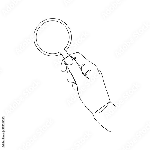 Fototapeta Continuous line drawing of hand holding magnifying glass . Vector illustration obraz na płótnie