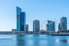 Highrise Buildings At Docklands Neighborhood Of Melbourne, Australia