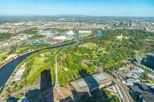 Aerial View Of State Theatre And Sport Stadium At Melbourne, Australia