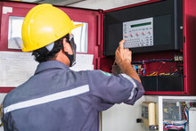 Technician Checking Doing Work Maintenance Fire Alarm System In A Factory Fire Protection Factory Safety Qiao Shan Installation Control Detector Emergency Risk