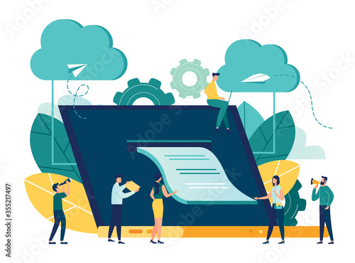 Photo vector illustration, illustration of credit approval or contract conclusion onli