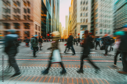 Fototapeta Blurred Crowd of unrecognizable business people walking on Zebra crossing in rush hour working day obraz