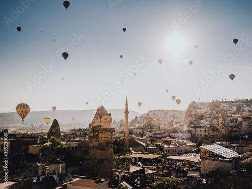 Aerostatic balloons floating in the capadoccia - Turkey Canvas Print