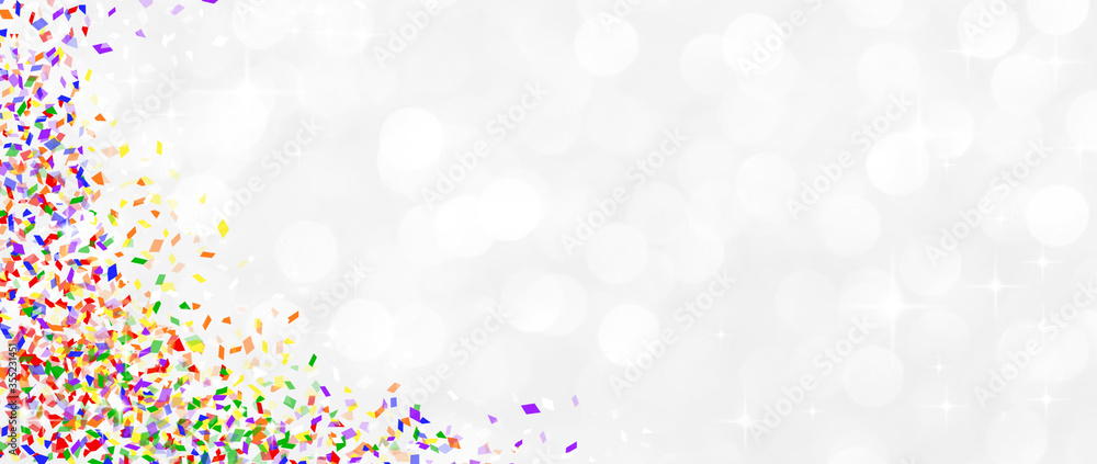 Fototapeta blur glowing whitening background with rainbow confetti and star twinkle for pride month celebrate concept