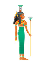 Nephthys Ancient Egyptian Goddess. Daughter Of Nut, Geb. Isis Sister. Seth Wife. Deity Of Mourning, Night Darkness, Childbirth, Dead Protection, Magic, Health, Embalming. Old Historical Art From Egypt