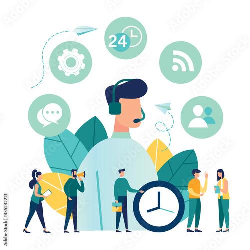 Vector illustration, customer service, male hotline operator advises client, onl Canvas Print