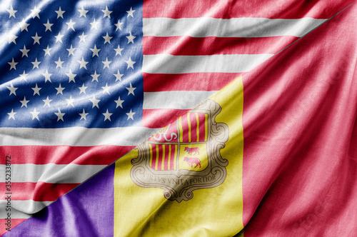 Mixed USA and Andorra flag, three dimensional render Canvas Print