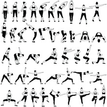 Set Of Vector Sillhouettes Of Woman Doing Fitness Work Out And Yoga Stretching In Standing Poses. Fitness And Yoga Girl Icons Isolated On White Background.