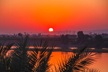 Nile River At Sunset In Luxor, Egypt.