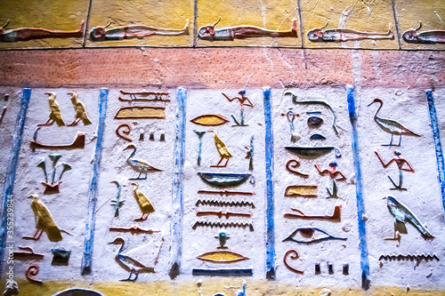 Valokuvatapetti Burial chamber with colorful Egyptian hieroglyphics at the valley of the kings,