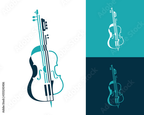 Fotografía Musical abstract composition of violin, guitar and cello made in lines and shapes