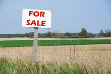 A Sign Is In Front Of The Agricultural Field. For Sale. Red Text.