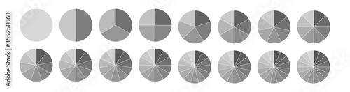 Obraz Fraction. Segmented circles set isolated on a white background.Big set, of wheel diagrams. Various number of sectors divide the circle on equal parts - fototapety do salonu