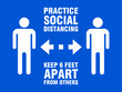 Practice Social Distancing Keep 6 Feet Apart from Others Horizontal Instruction Icon with an Aspect Ratio of 3:4. Vector Image.