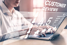 Customer Review Satisfaction Feedback Survey Concept. User Give Rating To Service Experience On Online Application. Customer Can Evaluate Quality Of Service Leading To Reputation Ranking Of Business.