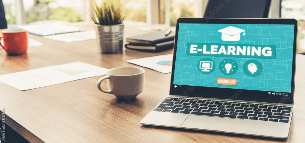 Fototapeta E-learning and Online Education for Student and University Concept. Video conference call technology to carry out digital training course for student to do remote learning from anywhere.