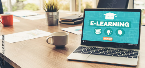 Obraz E-learning and Online Education for Student and University Concept. Video conference call technology to carry out digital training course for student to do remote learning from anywhere. - fototapety do salonu