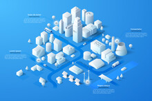 Vector Isometric White City Te...