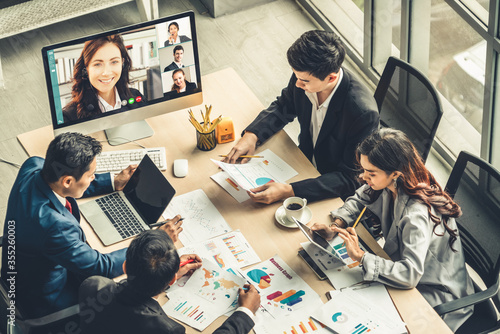 Video call group business people meeting on virtual workplace or remote office Canvas Print
