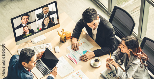 Video call group business people meeting on virtual workplace or remote office Fototapete