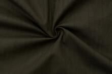 Green Fabric Texture. Woolen Dark Green Fabric In A Small Pattern, Background, Wool