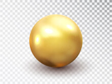Golden Sphere Isolated On Transparent Background. Golden Glossy 3D Ball With Glares. Round Shape, Geometric Simple, Figure Circle. Vector 3d Metal Sphere, Shiny Capsule Ball Icon.