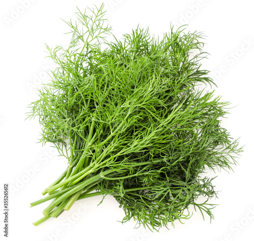 Cuadros en Lienzo Fresh dill bunch on a white background, isolated