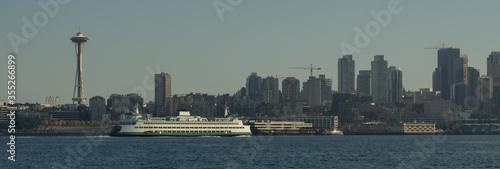 Washington State Ferry crossing Seattle Skyline in Elliott Bay Wallpaper Mural