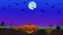 Scary Pumpkin Heads Looking Over A Cemetery Wall With Green Fog, Bats Flying And A Full Moon On A Dark Blue Night Sky