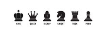 Chess Pieces Icon Set. Included Icon King, Queen, Bishop, Knight, Rook, Pawn. Black Silhouettes Isolated On White Background. Chess Pictogram. Set Of Strategy Icons In Line Style Vector Symbols.