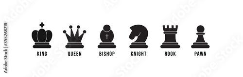 Vászonkép Chess pieces icon set