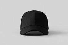 Black Baseball Cap Mockup On A Grey Background, Front View.