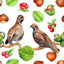 Forest Environment, A Seamless Pattern Of Cute Birds, Leaves, Hazelnuts, Lingonberries, Watercolor Drawing