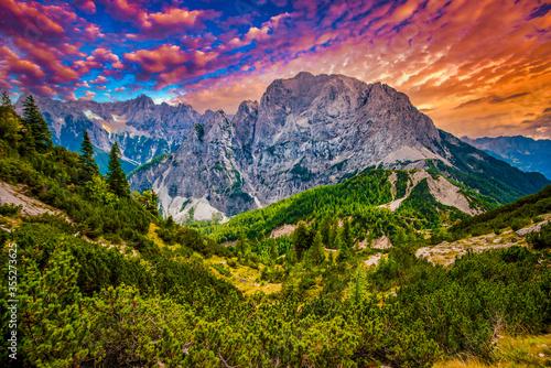 Fototapeta Triglav national park is a famous national park in Slovenia, Europe, Julian Alps. Colorful summer. Popular tourist leisure obraz