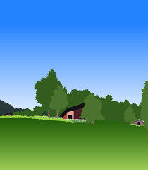 vector illustration of peaceful forest house landscape. beautiful view.