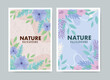 set of background tropical and flowers with leaves pastel color vector illustration design