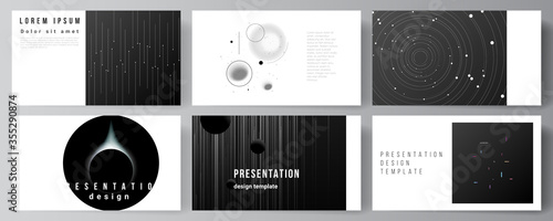 Fototapeta Vector layout of the presentation slides design business templates, multipurpose template for presentation brochure, brochure cover