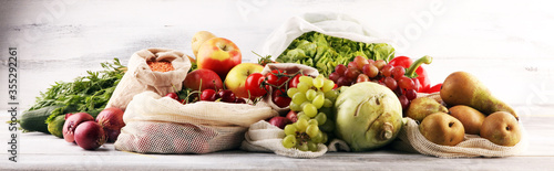eco natural bags with vegetables, eco friendly, flat lay Fototapeta