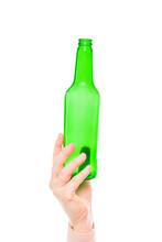 Green Glass Bottle In Female H...