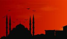 Mosque In Turkey Silhouette In...