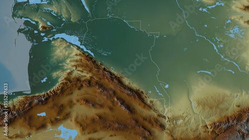Ahal, Turkmenistan - outlined. Relief Canvas Print