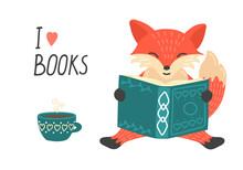 I Love Book. Cute Little Fox R...