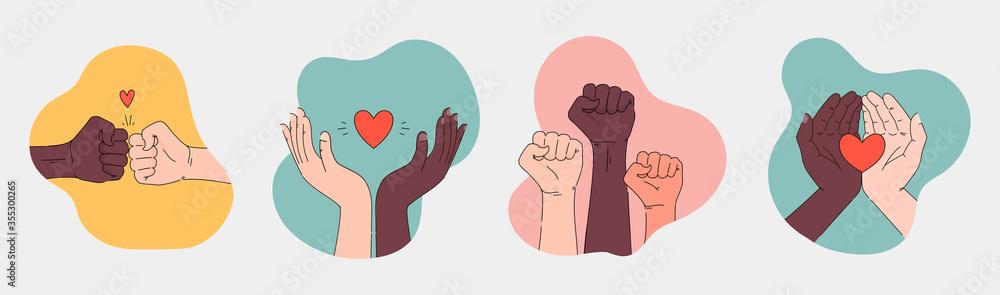 Fototapeta Black lives matter hand drawn poster, card collection. Hashtag blm stylised set. Black and white hands together concept. Campaign against racial discrimination of dark skin color. Vector Illustration.