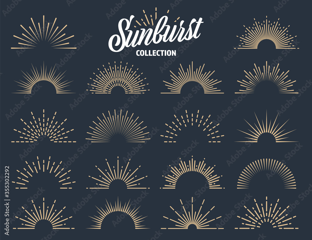 Fototapeta Vintage sunburst collection. Bursting sun rays. Fireworks. Logotype or lettering design element. Radial sunset beams. Vector illustration.