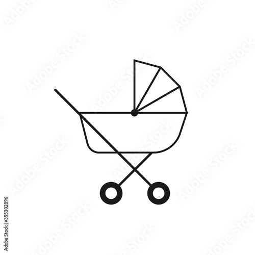 Photo Simple baby stroller Related Vector Line Icon